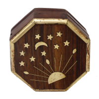 Hexagonal wooden box with golden coloured painting on it