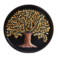 Iron Leaf Tree Round Wall Décor