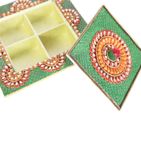 Wooden Kundan Beads Handicrafts Dry Fruits Box Online