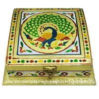Square Shaped Dry Fruit Box Crafted Of Marble Meenakari