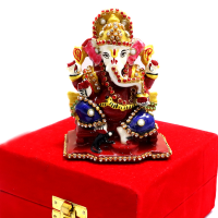 Sitting Ganesha in Red Packing Case