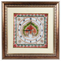 Wooden Frame Marble Clock with Peacock Painting