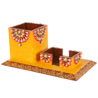 Kundan Wooden Craft Creative Pen Stand For Office Online