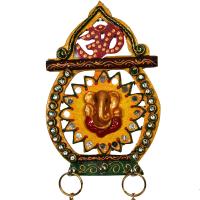 Matki shaped wooden kundan key hanging