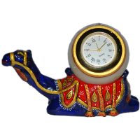 Meenakari metal camel clock in blue