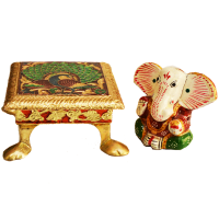 Meenakari Metal Chowki with Wooden Ganesh Idol For Puja