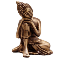 Metal Look Resting On Knee Buddha Statue