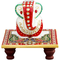 Multicolor Marble Ganesh with Chowki For Puja