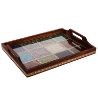Multipurpose Gemstone Filled Brown Wooden Utility Tray