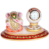 Oval Marble Handicraft Lord Ganesha n Table Watch Online