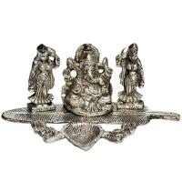 Oxidized Lord Ganesh with Ridhhi Sidhhi Figurines