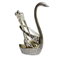 Oxidized Swan Shaped Spoon Stand with 6 Spoons