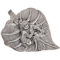 Oxidized Baal Krishna Wall Hanging Crafted On Peepal Leaf
