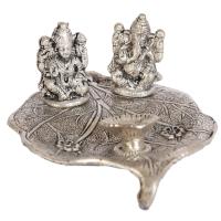 Oxidized Handicraft Peepal Leaf Laxmi Ganesh Thali Online