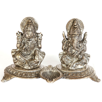 Oxidized Metal Handicrafts Laxmi Ganesh Set As Divine Gift