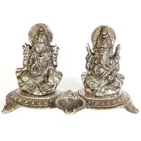 Oxidized Metal Handicrafts Laxmi Ganesh Set As Divine Gift