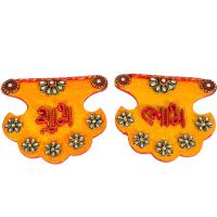 Kundan Craft Pankhi Shaped Shubh Labh Door Toran For Diwali