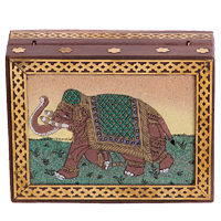 Wooden Gemstone Handicrafts Elephant Jewellery Box Online