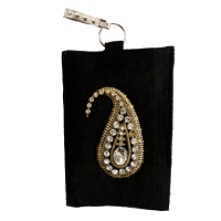 Jute clutch bag with stone design zip holding