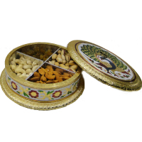 Wooden Dry Fruit Gift Box Has Meenakari Work & Brass Lid
