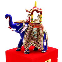 Royal Blue Elephant With Extensive Stone Designs