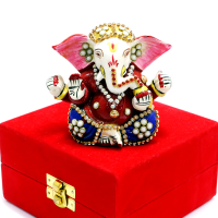 Seated Lord Ganesh With Delicate Meena And Stone Work