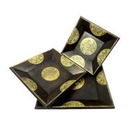 3 Set Wooden Brass Handcrafted Service Trays Online