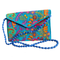 Side Sling Purse Bag in Vibrant Sky Colour With Handcrafted Design