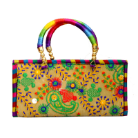 Small Handle Multicoloured Purse Bag For Party Wear