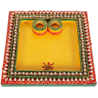 Wooden Kundan Crafts Square Pooja Thali Online For Ladies