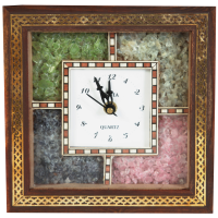 Square Shaped Gemstone Wooden Clock For Home Decor