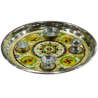 Steel pooja thali with Meenakari work