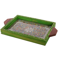 Jewelled green wooden utility tray