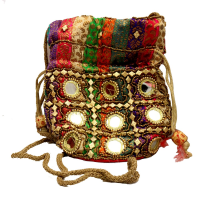Traditional Multicolored Potli Bag With Round Mirror Designs