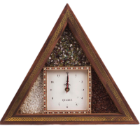 Triangular shaped Hand crafted Gemstone Wall clock