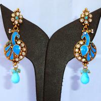 Turquoise peacock earrings