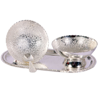 German Silver Twin Bowl Pudding Set As Return Gifts