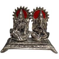 Twin Laxmi Ganesh Idols in Oxidized Metal For Puja