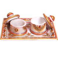 Marble Handicraft Twin Dibbi Sets With Lid & Tray Online