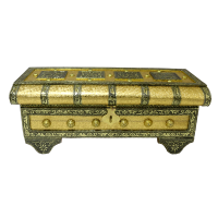 Wooden pitari box with brass & resin designs