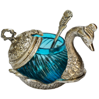 White Metal Duck Shaped Bowl Ideal For Handcrafted Decor