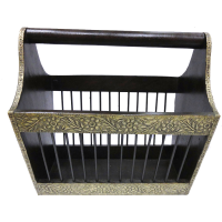 Stunning Wooden Brass Handicrafts Magazine Holder Online