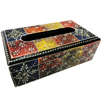 Multicolor Wooden Crafted Designer Tissue Box Online