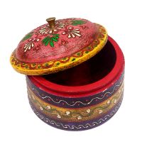 Multicolor Wooden Dibbi with Embossed Work