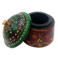 Wooden Embossed Traditional Dibbi in Green & Maroon