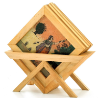 Wooden gemstone coaster with stand