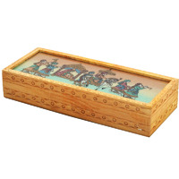 Wooden jewellery box with gemstone painting