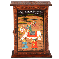 Wooden Crafted & Elephant Painted Key Holder box For Wall