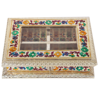 Quad Compartment Wooden Dry Fruit Box with Meena Work